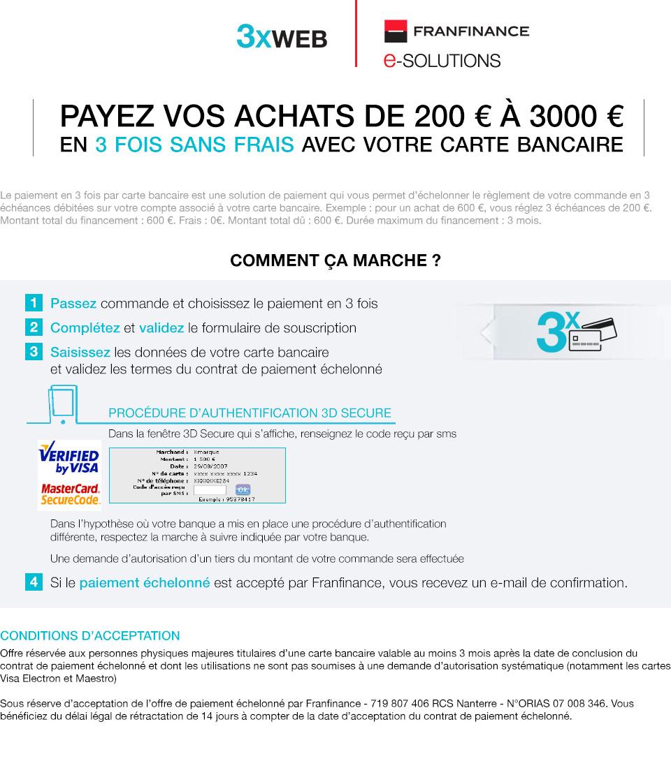Payez vos achats de 200€ à 3000€ en 3 fois sans frais par carte ... 5fcc1c7d6075