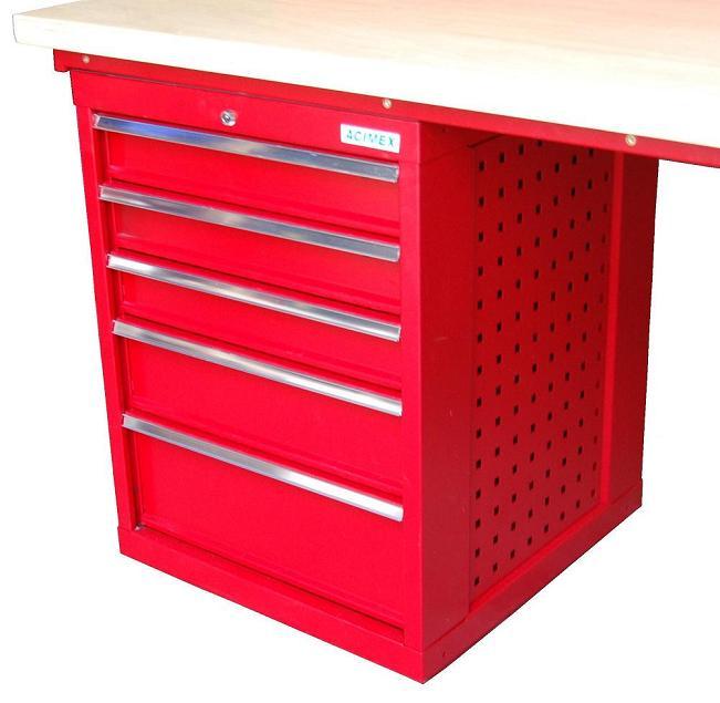 Bloc de rangement bas 5 tiroirs pour tabli modulaire for Bloc rangement tiroir bois